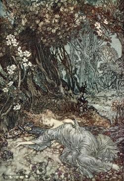 Titania_lying_asleep Arthur Rackham Public Domain